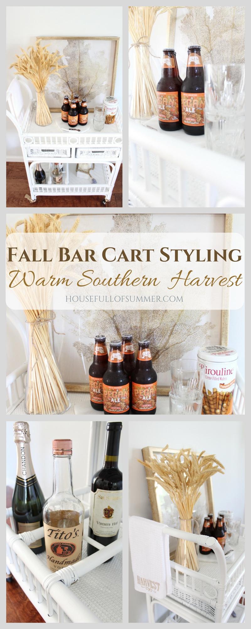 Bar Cart Styling - Warm Southern Harvest | bar cart makeover, fall bar cart ideas, southern fall decor, simple fall decor, bar cart styling tips, thanksgiving bar cart,