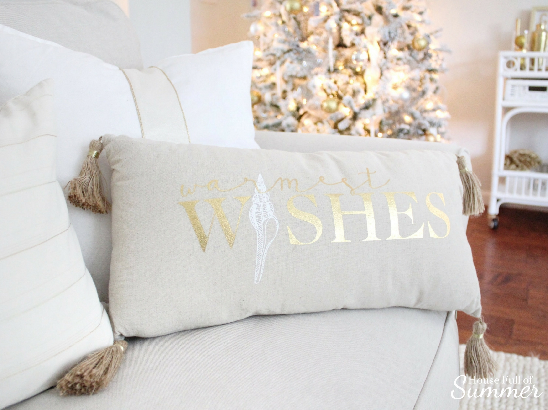 Creating a Glam Coastal Christmas with Bealls Florida | House Full of Summer blog - neutral christmas decor, gold coastal christmas throw pillow, tassel pillow, decorative pillow, florida christmas, beachy holiday decor, silver and gold, neutral interior ideas