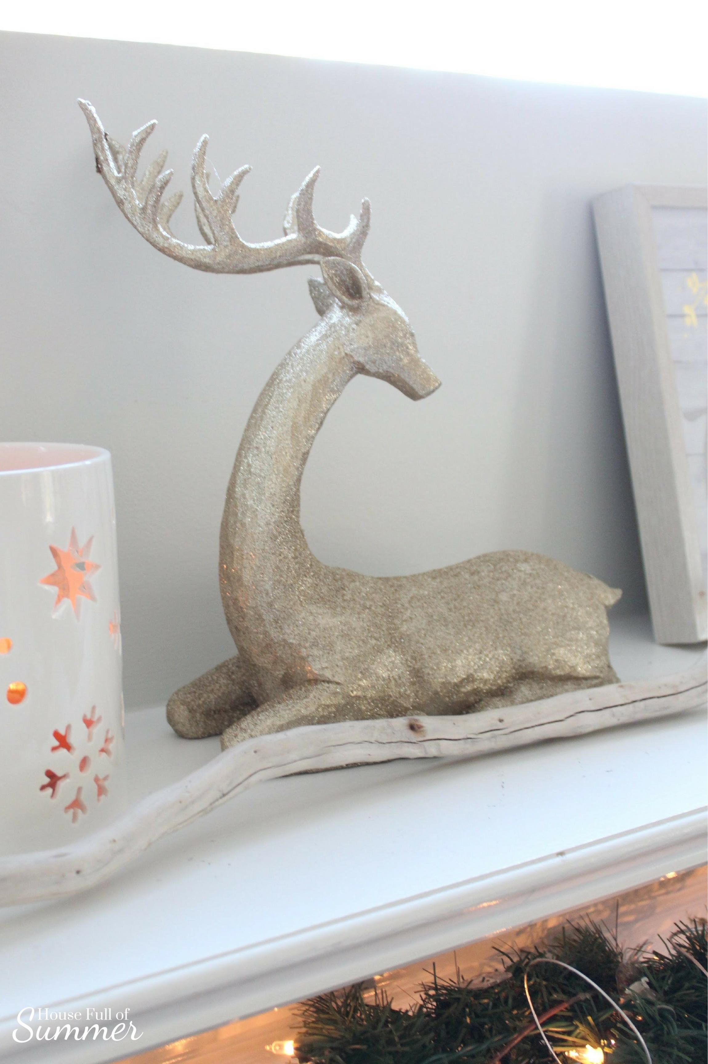 Classy Christmas Home Tour {Part Two} | House Full of Summer blog - mantel decor, christmas mantel ideas, coastal christmas mantel, silver and gold coastal decor, windows over mantel