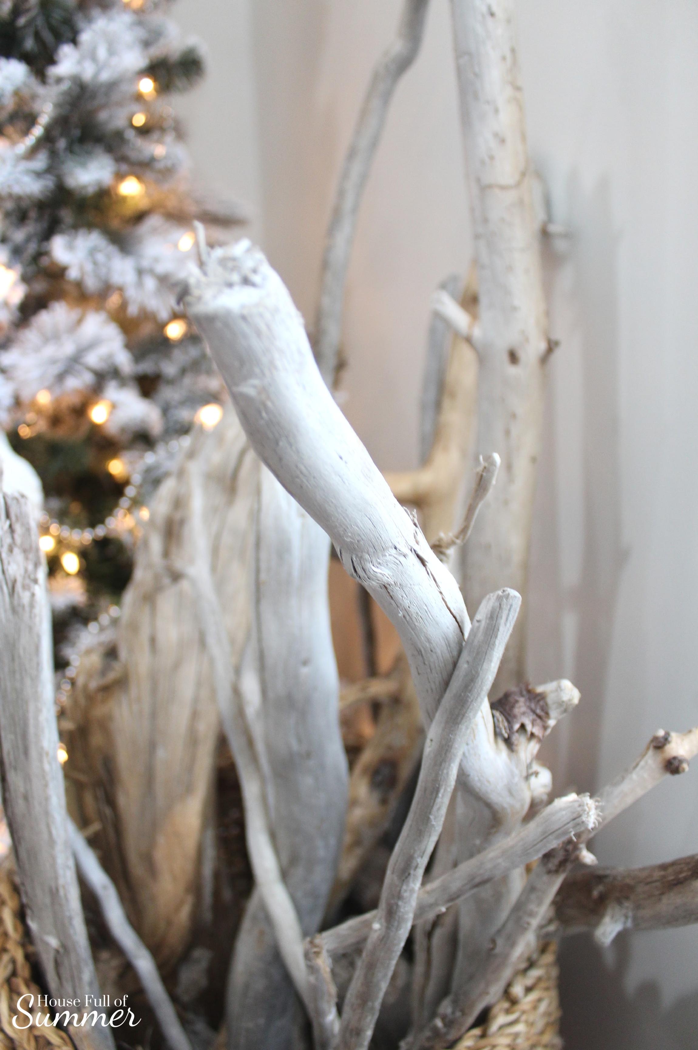Classy Christmas Home Tour {Part Two} | House Full of Summer blog - mantel decor, christmas mantel ideas, coastal christmas mantel, silver and gold coastal decor, windows over mantel, driftwood in basket