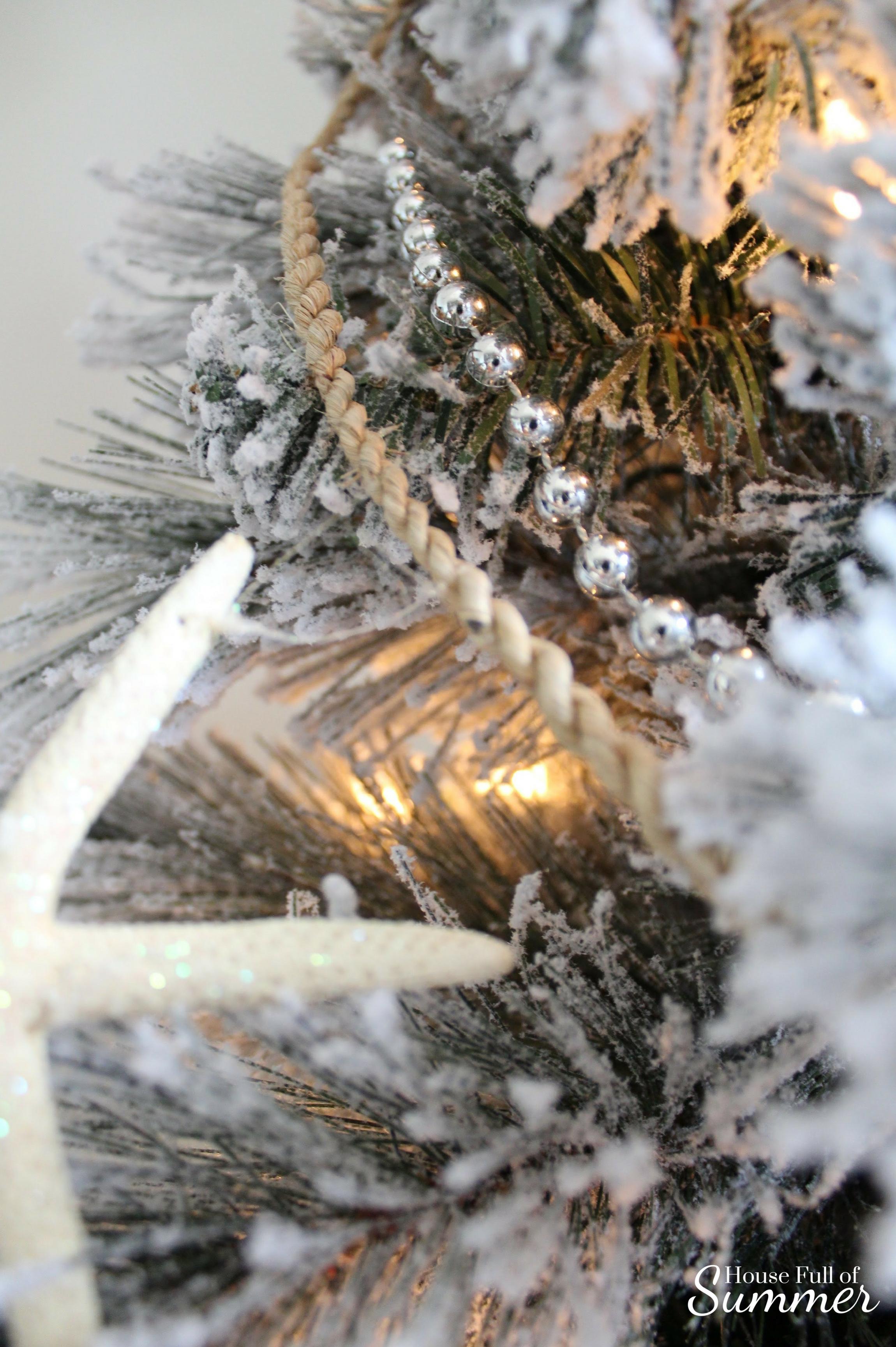 Classy Christmas Home Tour {Part Two} | House Full of Summer blog - christmas tree decor, coastal christmas tree, flocked pencil tree, seashell garland