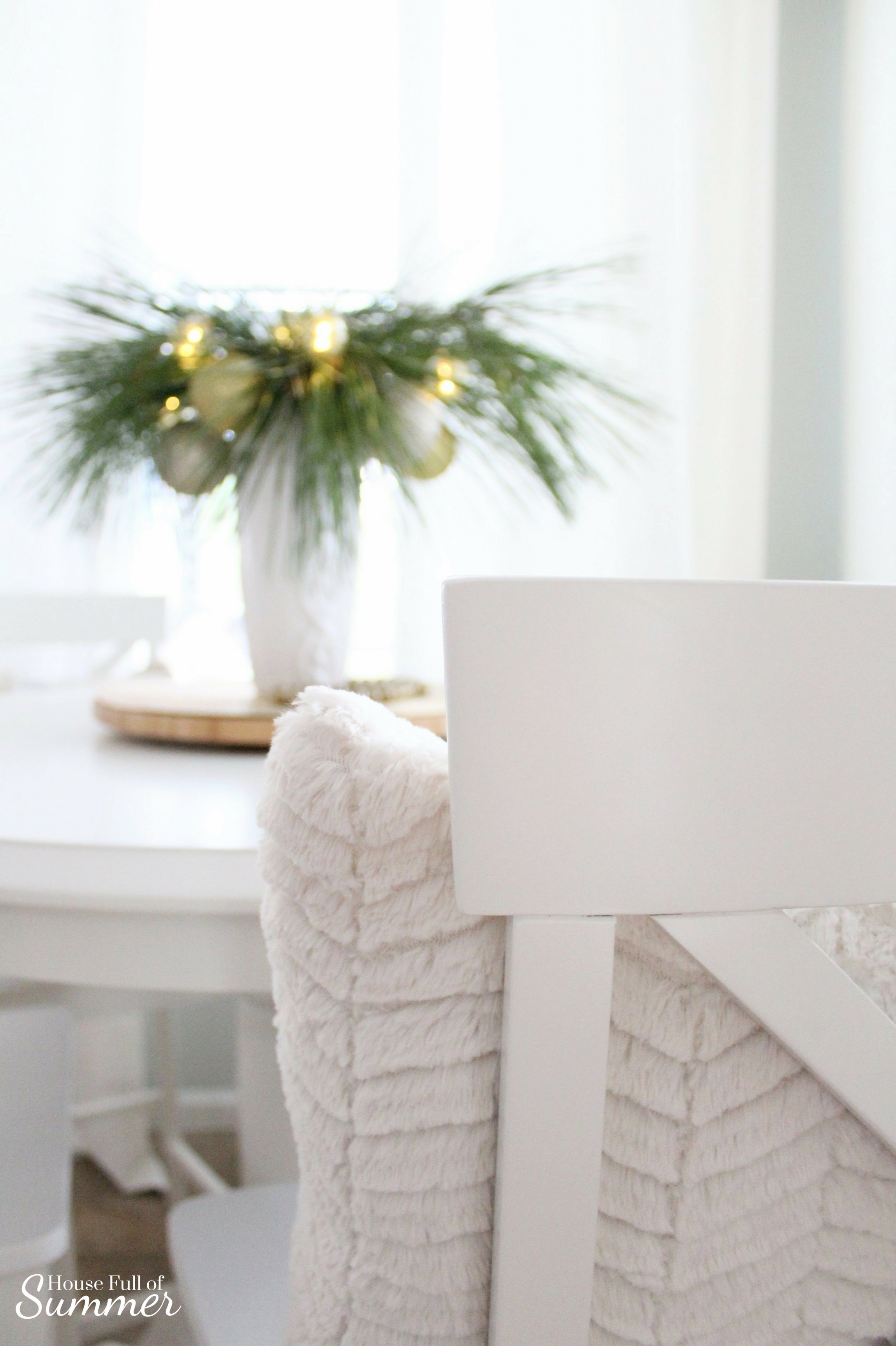 Classy Christmas Home Tour {Part Two} | House Full of Summer blog - white breakfast nook, counter height table, diy greenery centerpiece, christmas table decor, diy christmas decor ideas, coastal christmas decor, beach house, neutral christmas decor, winter centerpiece ideas