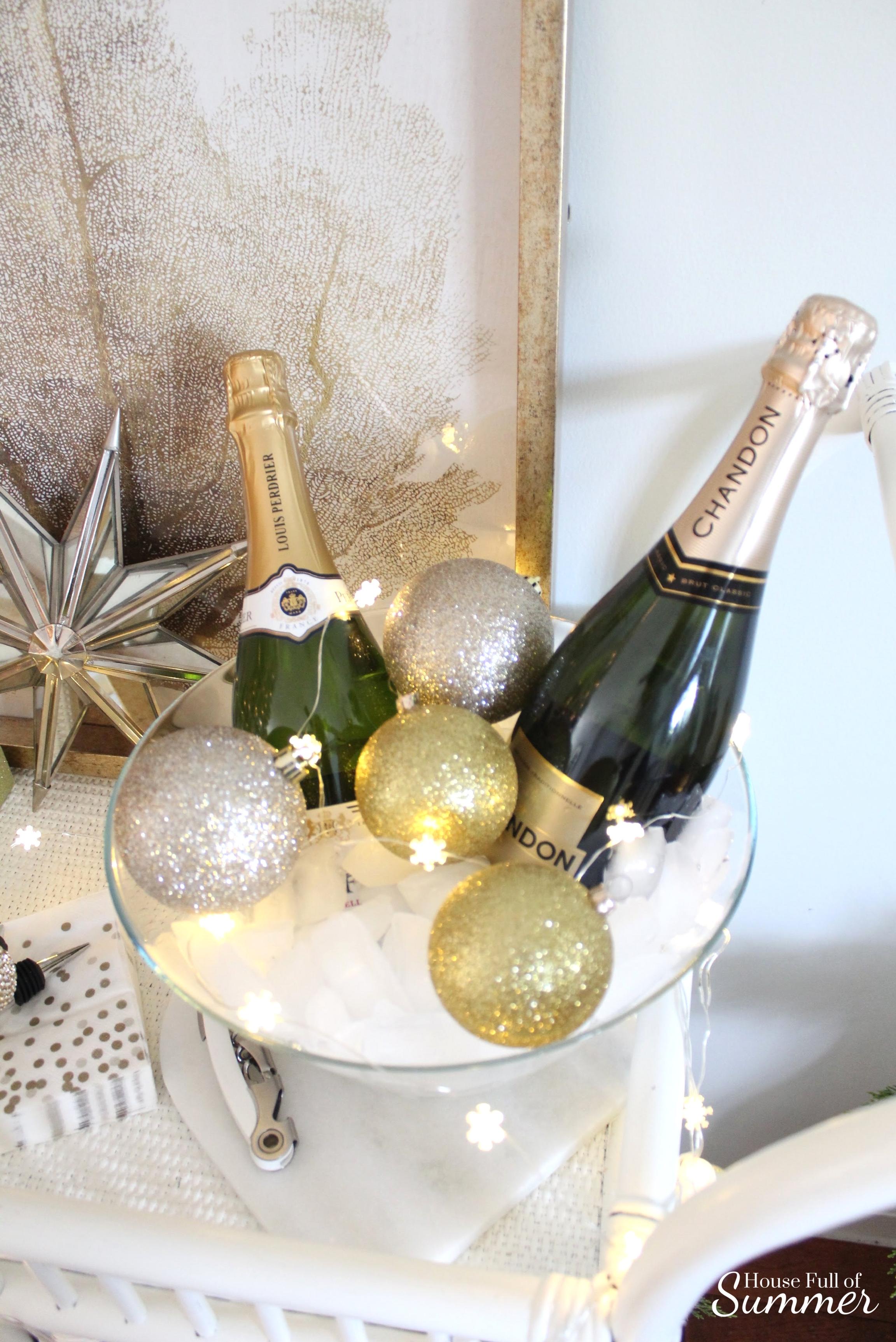House Full of Summer | NYE Bar Cart Blog Hop - silver and gold new year's eve decor, ice bucket, champagne, coastal style, coastal NYE, holiday bar cart, fairy lights, string light ideas