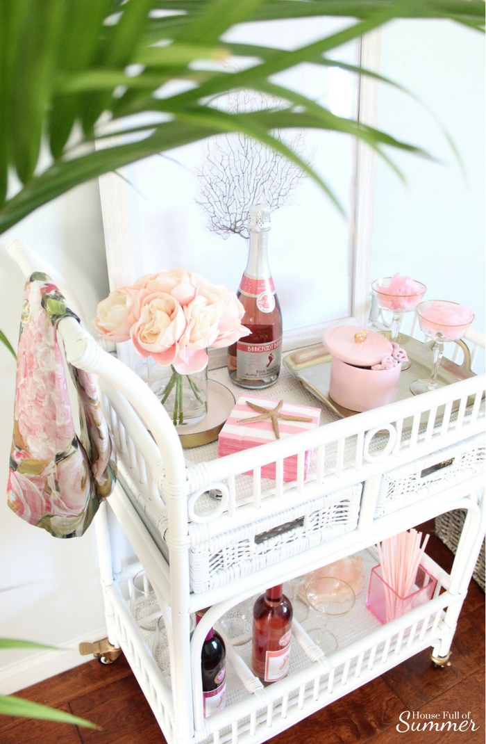 Blush Valentine S Day Bar Cart With A Coastal Touch Blog Hop House Full Of Summer Coastal Home Lifestyle