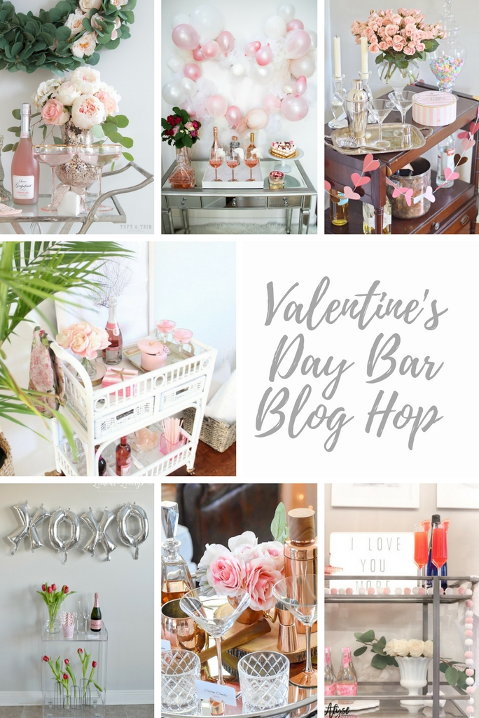 Valentine's Day Bar Cart Blog Hop | House Full of Summer, Valentine's Day Inspo, romantic bar cart, blush decor, coastal home, beachy bar cart, pink styling
