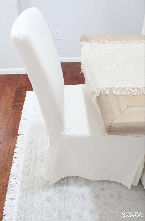 White Slipcovered Dining Chairs