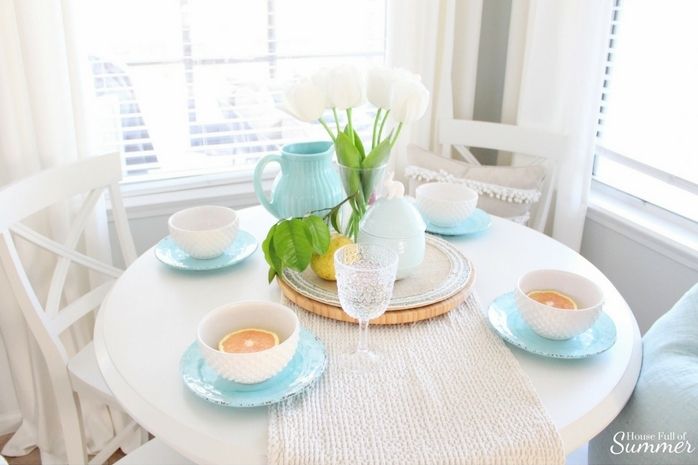 Spring Table Setting in Style - Loveliest Looks of Spring Blog Hop | House Full of Summer, spring tablescape, Easter table setting ideas, Easter outfit, Spring outfit, breakfast nook, jewelry, accessories, coastal interior,  coastal Spring decor and table styling grapefruit fresh trimmings tulips, white and turquoise aqua, outdoor dishware