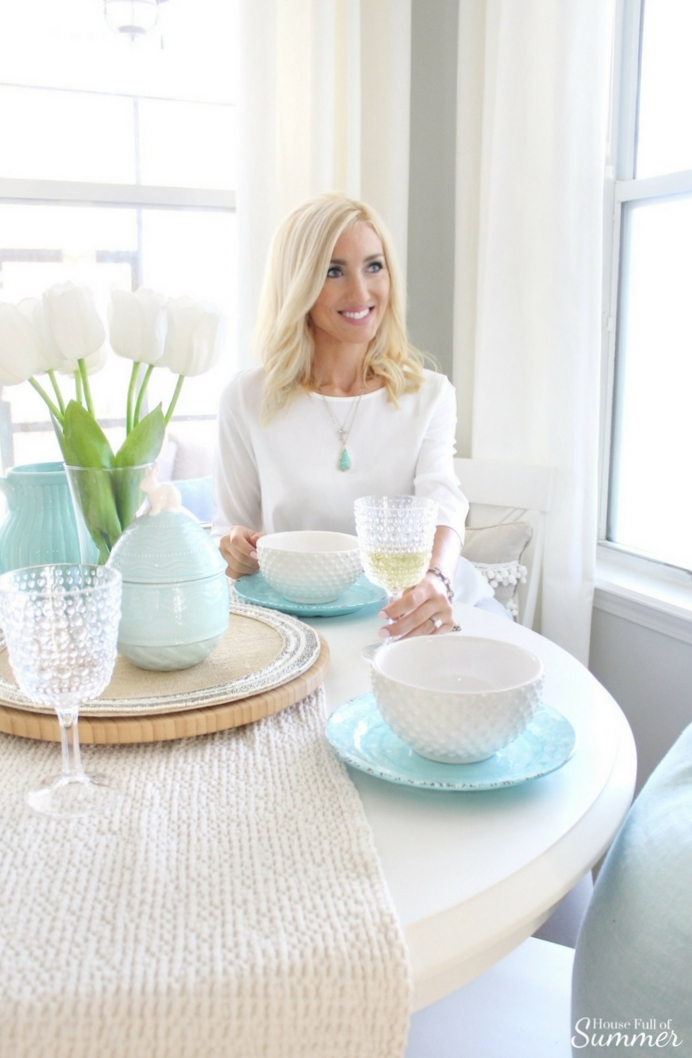 Spring Table Setting in Style - Loveliest Looks of Spring Blog Hop | House Full of Summer, spring tablescape, Easter table setting ideas, Easter outfit, Spring outfit, breakfast nook, jewelry, accessories, coastal interior,  coastal Spring decor and table styling