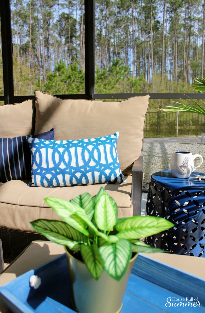 Custom Outdoor Pillows with PatioLane | House Full of Summer outdoor living, patio decor, coastal patio style, lanai, spring patio updates, custom cushion builder, tropical style, florida living, florida backyard design, enclosed pool and patio, navy and white patio. porch decor, palms, turquoise pillows, blue and white