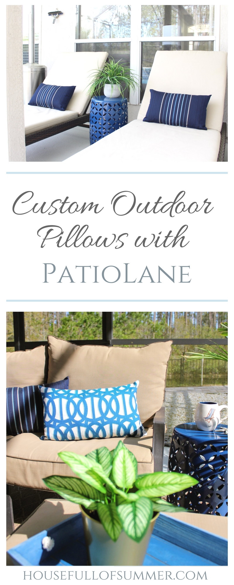 Custom Outdoor Pillows with PatioLane | House Full of Summer outdoor living, patio decor, coastal patio style, lanai, spring patio updates, custom cushion builder, tropical style, florida living, florida backyard design, enclosed pool and patio, navy and white patio. porch decor, palms,