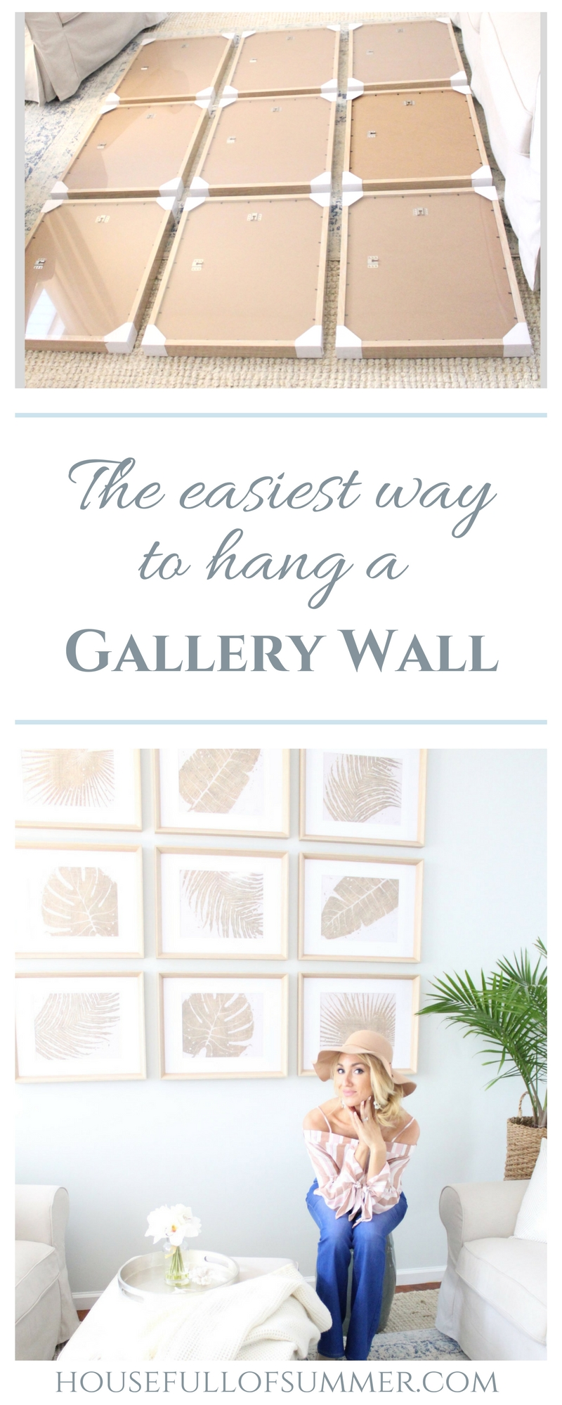 The Easiest Way to Hang a Gallery Wall | House Full of Summer, home diy project, wall decor ideas, coastal wall art, tropical leaves, gold framed frond art, wooden frames with white matting, 9 frames, coastal home interior, tropical chic style, spring style, spring decor, sherwin williams fleur de sel paint color, gray walls, neutral decor, Florida home, beach house