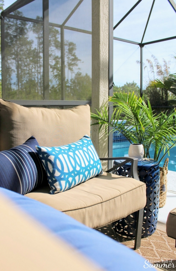 Custom Outdoor Pillows by PatioLane | House Full of Summer outdoor living, patio decor, coastal patio style, lanai, spring patio updates, custom cushion builder, tropical style, florida living, florida backyard design, enclosed pool and patio, navy and white patio. porch decor, palms, turquoise pillows, blue and white