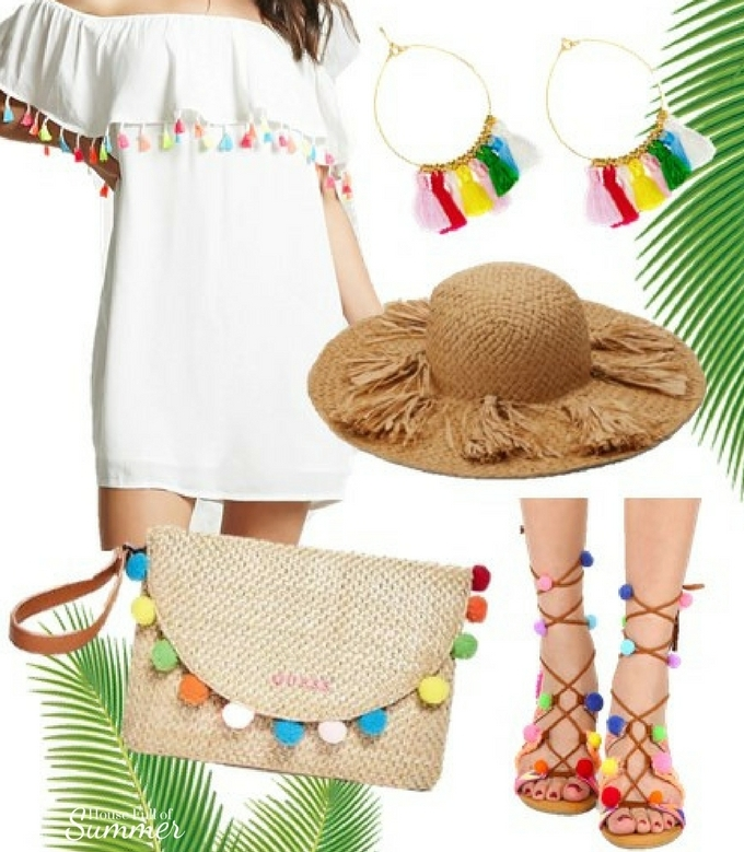 Cinco de Mayo Outfits & Accessories | House Full of Summer blog, outfit ideas, tassels, fringe, pom poms, gladiator sandals, off the shoulder top, ruffle top, straw hat, pom pom hat, sun hat, beach outfits, fiesta outfits