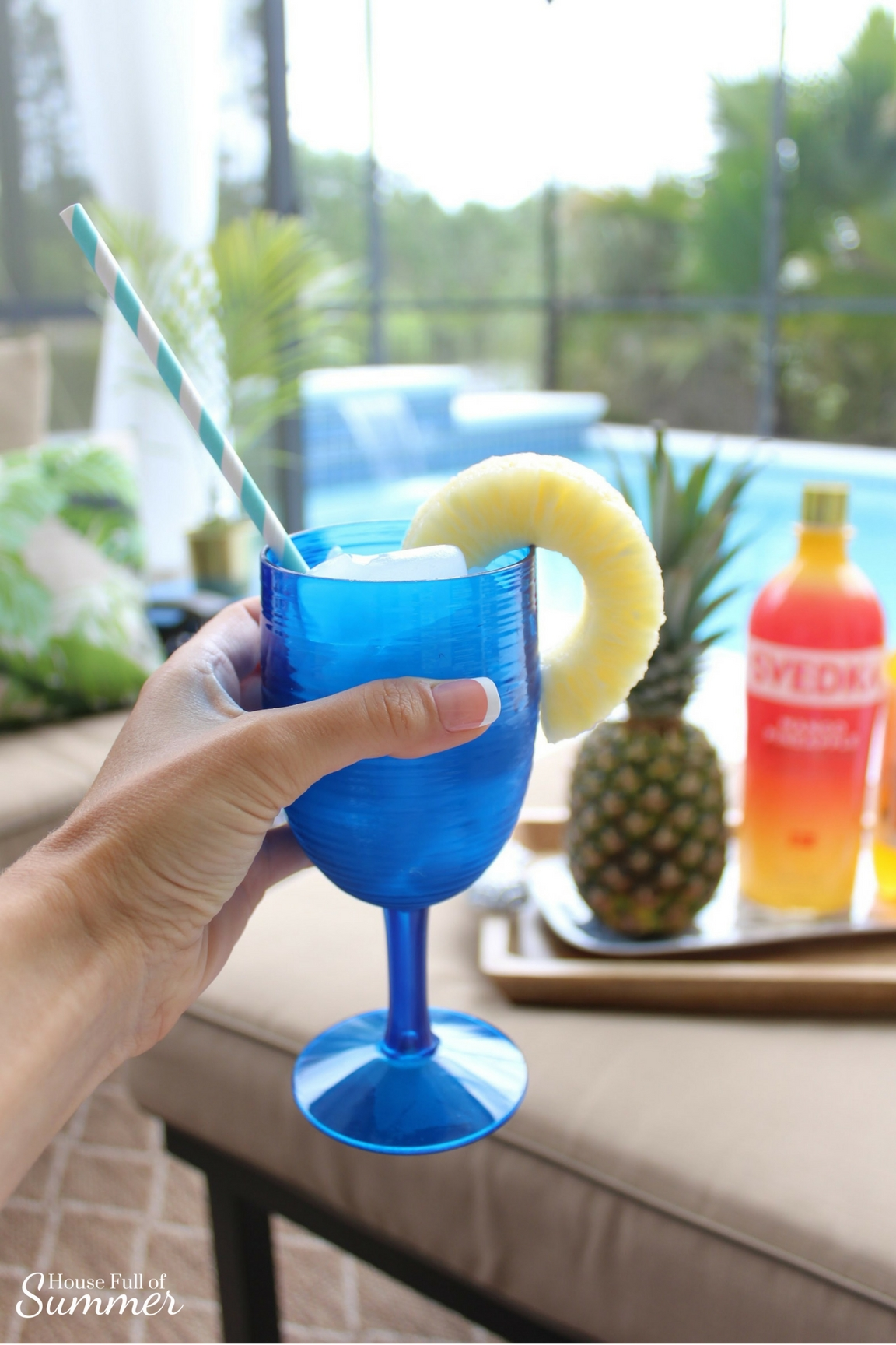 Simple Mango Pineapple Cocktail Recipe | House Full of Summer - tropical cocktail ideas, flavored vodka, flavored water, outdoor entertaining ideas, summer drink, SVEDKA Pineapple Mango, Mango Tropical mixer