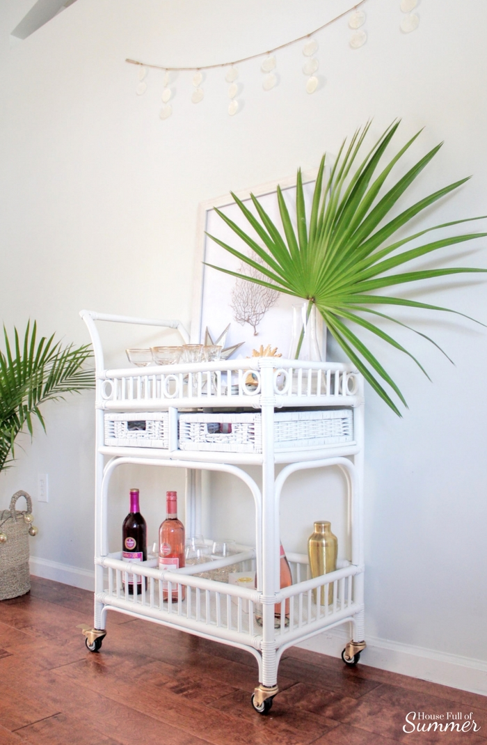 Completely Transform A Cane Bar Cart House Full Of Summer Coastal Home Lifestyle
