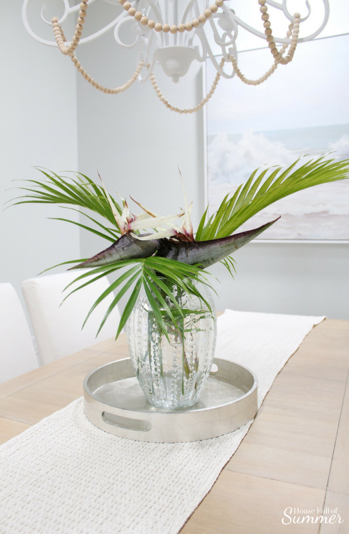 Loveliest Looks of Summer Tour | Fresh & Breezy Summer Style - coastal home decor for summertime, summer outfit ideas, ruffle top, tassel earrings, living room decor, dining room decor, tropical greenery, decor on a budget, free ways to decorate, foyer styling, giant bird of paradise