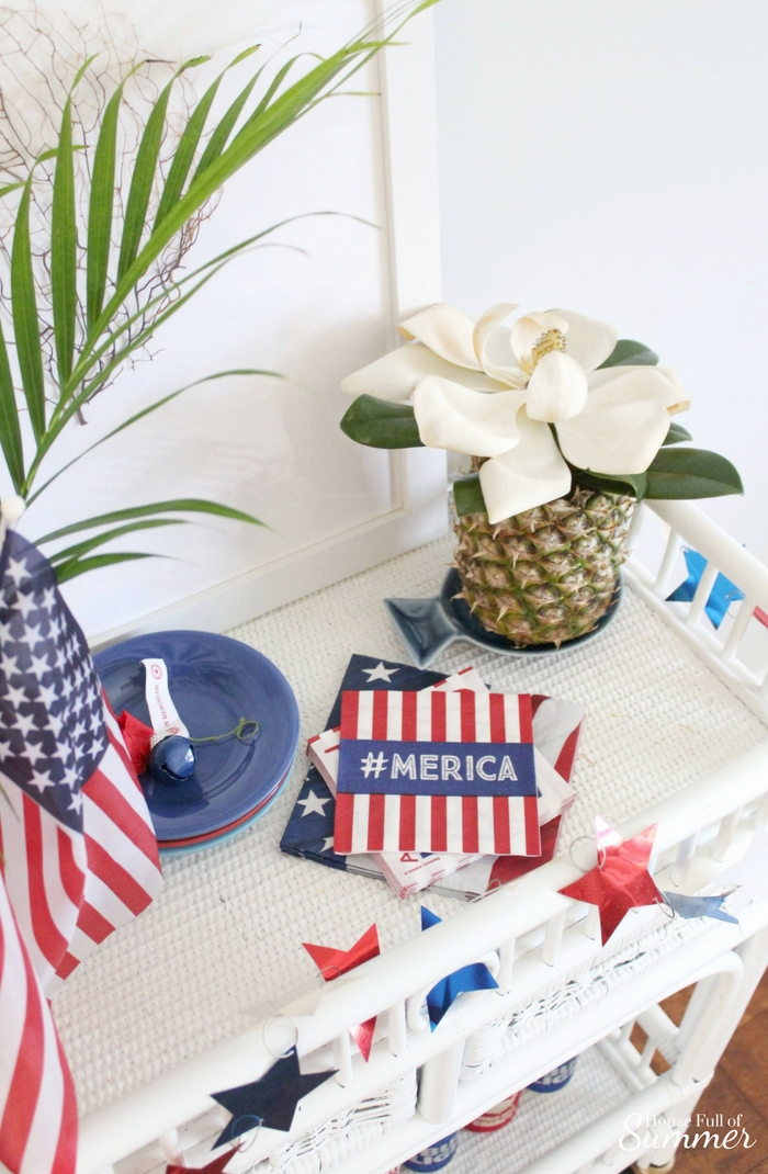Red, White & Brew Bar Cart Decor | House Full of Summer Patriotic holiday decor, bar cart styling, coastal decor, palm beach chic, white cane bar cart, Memorial Day, Fourth of July, Labor Day, Flag Day #housefullofsummer