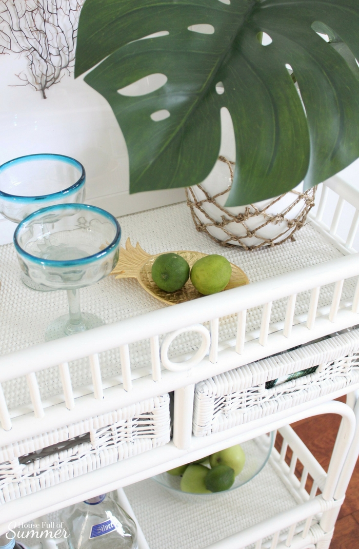 Loveliest Looks of Summer Tour | Fresh & Breezy Summer Style - coastal home decor for summertime, summer outfit ideas, ruffle top, tassel earrings, living room decor, dining room decor, tropical greenery, decor on a budget, free ways to decorate, foyer styling, bar cart tropical style