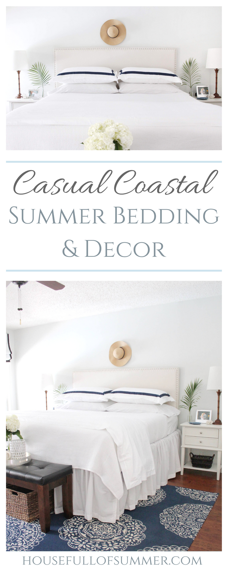 Casual Coastal Summer Bedding | House Full of Summer - nautical and coastal vibes in a blue and white bedroom. Boll & Branch duvet and navy ticking sheets, hotel bedding, beige nailhead headboard upholstered, extra long drop bed skirt, bamboo lamps, tropical accents, navy medallion rug. Sherwin Williams Fleur de Sel paint color, percale sheets, #housefullofsummer #bollandbranch