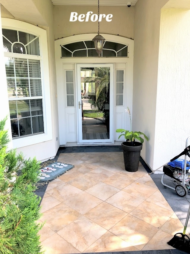 Self-Watering Planters and a Stylish Front Porch | House Full of Summer - front porch decor, white tall planters, summer front porch, summer decor, coastal home exterior, white porch, Florida home, Jackson & Perkins #housefullofsummer