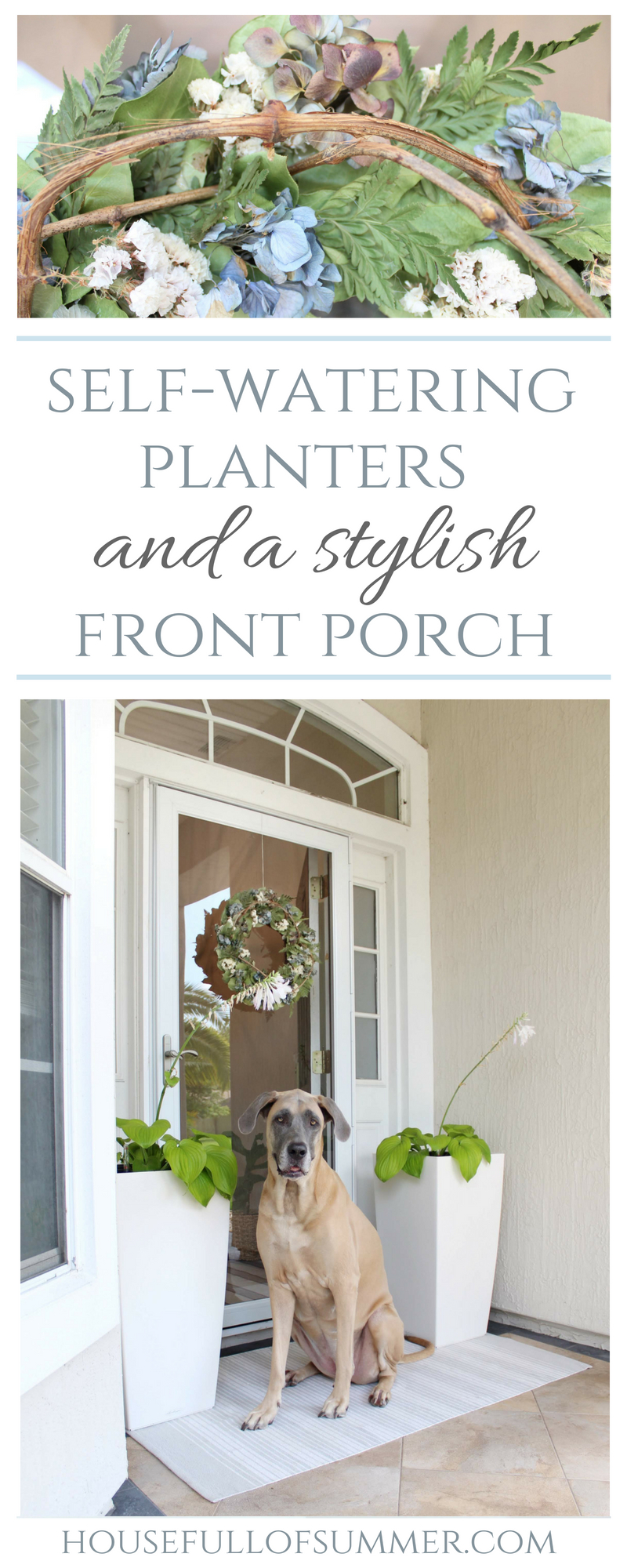 Self-Watering Planters and a Stylish Front Porch | House Full of Summer - front porch decor, white tall planters, summer front porch, summer decor, coastal home exterior, white porch, Florida home #sp