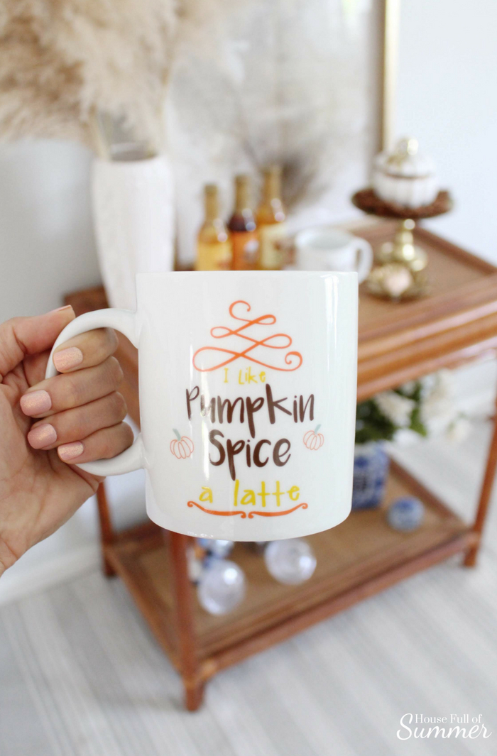 Pumpkin Spice Coffee Station | House Full of Summer #ad andThat! fun finds, fall decor, coffee bar cane rattan table, craigslist find, chinoiserie, coastal fall decor pumpkin spice coffee drinks
