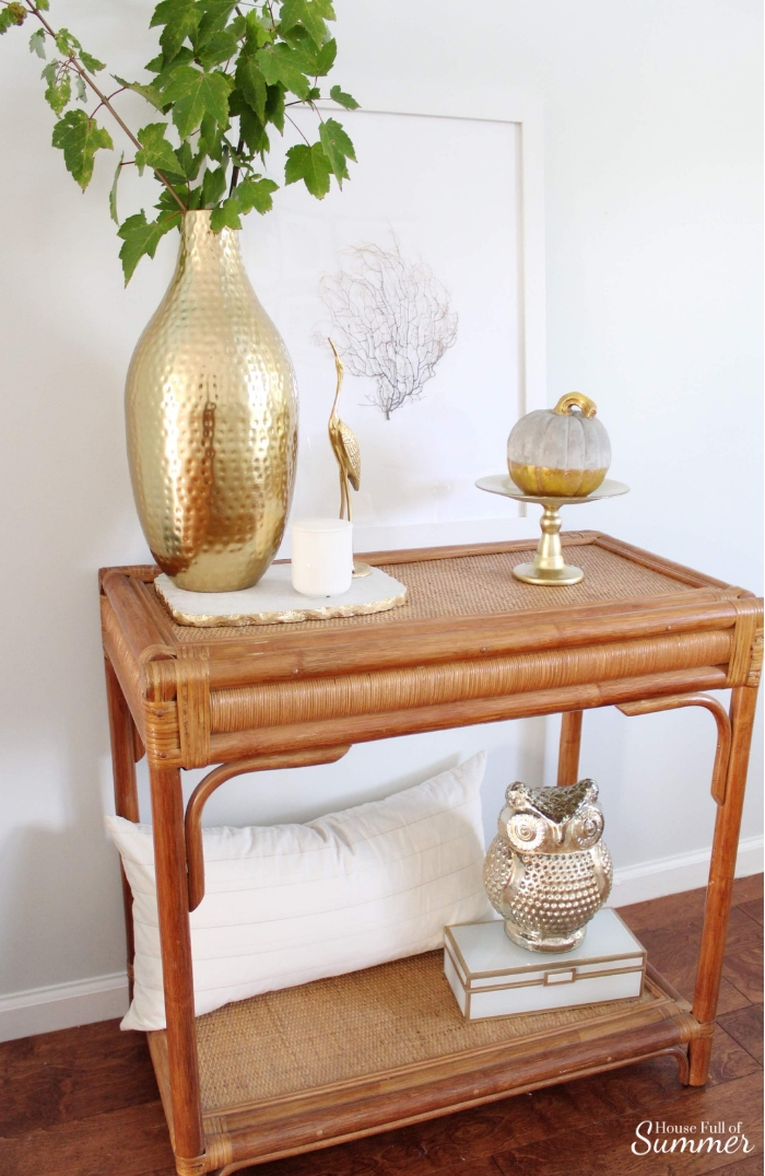 Simple and Subtle Fall Decor   Touches of Fall Home Tour Blog Hop   House Full of Summer blog, coastal fall decor, neutral decor, gray beige blue fall decorating, non-traditional fall decor, autumn home interior, living room, dining room gray slipcovered chairs, beach art, slipcover furniture, foyer console table, tassels, chinoiserie, ginger jars, coastal chic, guest room, turquoise fall decor, beach house style