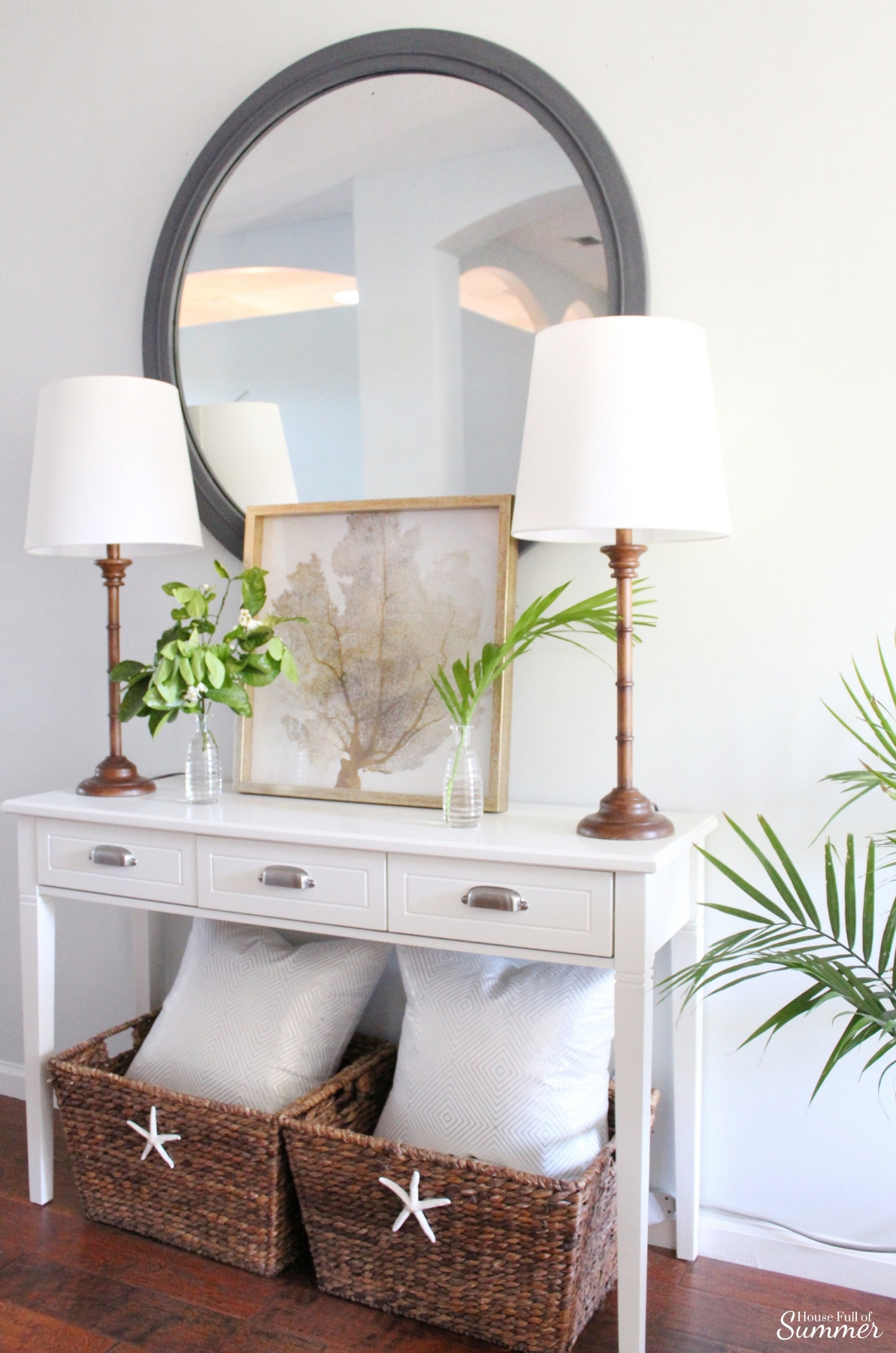 5 Items You'd Never Guess I Found on Craigslist - cheap decorating ideas, budget decor, DIY home ideas, cane furniture, coastal home decor, foyer decor, bamboo lamps, #housefullofsummer