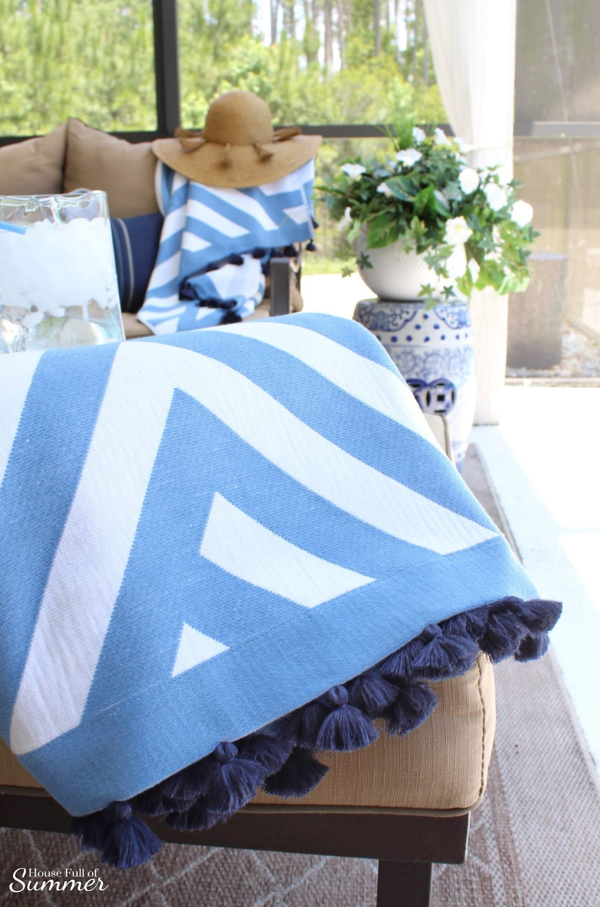 Blue & White Poolside Retreat | House Full of Summer - Serena & Lily beach towels, patio decor, outdoor living room, cozy patio, chinoiserie chic garden stool, coastal home decor, Florida home, lanai, beach accessories, Summer decor