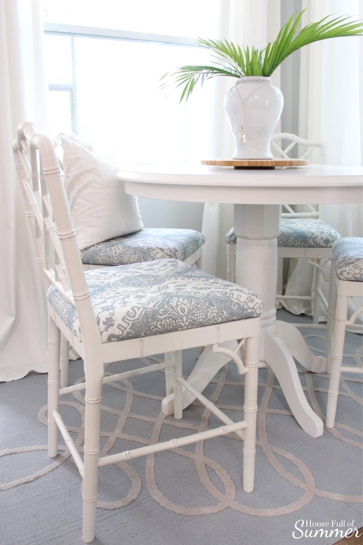 Custom Upholstered Stools for the Breakfast Nook   House Full of Summer Chinoiserie chic breakfast nook updates with custom upholstered chippendale style stools in partnership with Ballard Designs. bamboo chairs, bar stools, benches, ottomans, kitchen table dining room