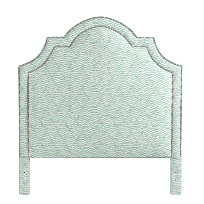 Katherine Headboard with Pewter Nailheads  in Belize Spa