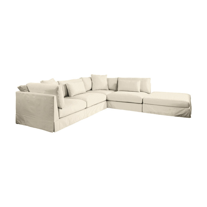 Roswell Upholstered Sectional with Ottoman  in Dimple Sand
