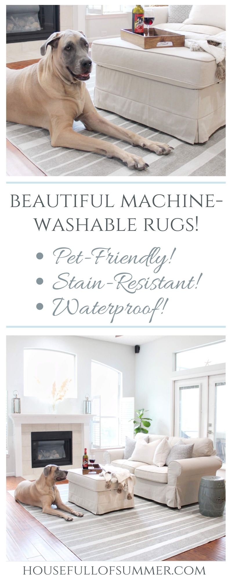 Beautiful Machine Washable Rugs!? Yep! - Waterproof, stain-resistant rugs by Ruggable make life easier and more fun! Great for pets, active families, kids, parties, etc. Ruggable rug review by House Full of Summer dog-friendly, kid-friendly, striped gray rug family room coastal home neutral living room decor fireplace windows #housefullofsummer