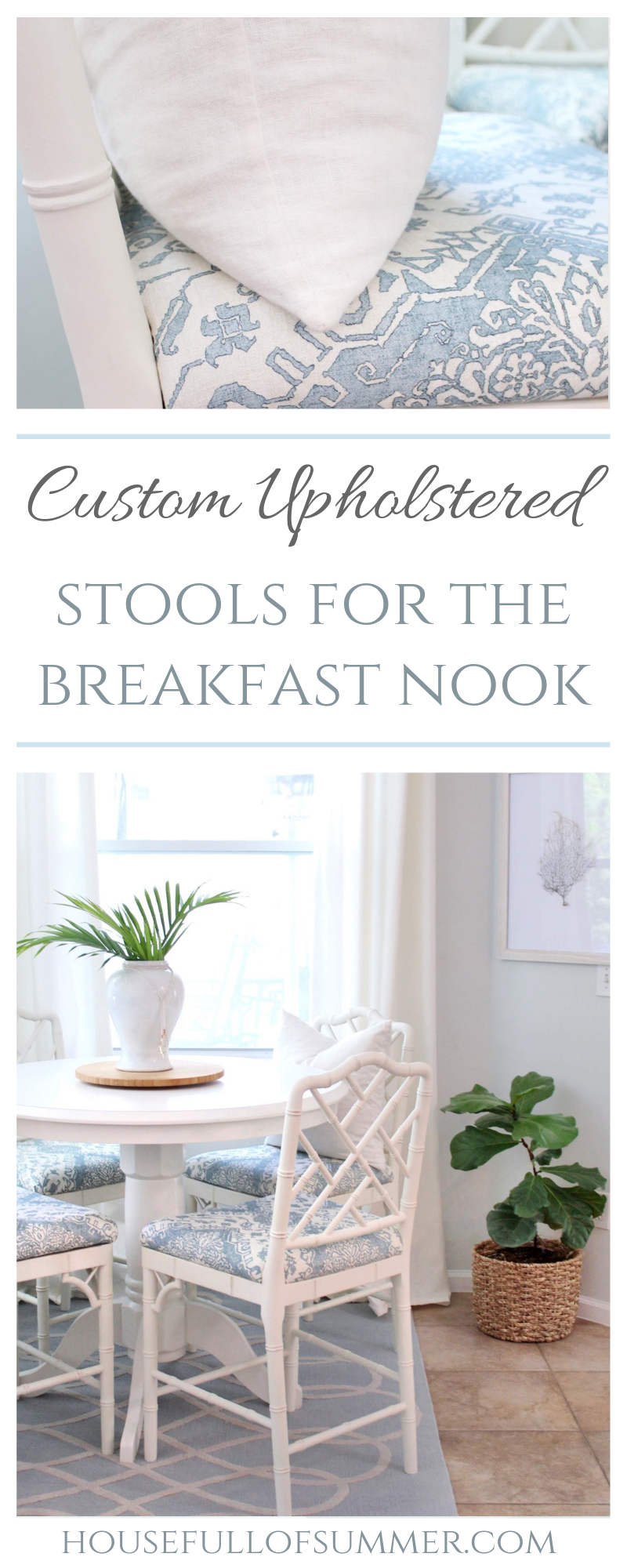 Custom Upholstered Stools for the Breakfast Nook   House Full of Summer Chinoiserie chic breakfast nook updates with custom upholstered chippendale style stools in partnership with Ballard Designs. bamboo chairs, bar stools, benches, ottomans, kitchen table dining room coastal elegant traditional decor blue and white #housefullofsummer #sponsored