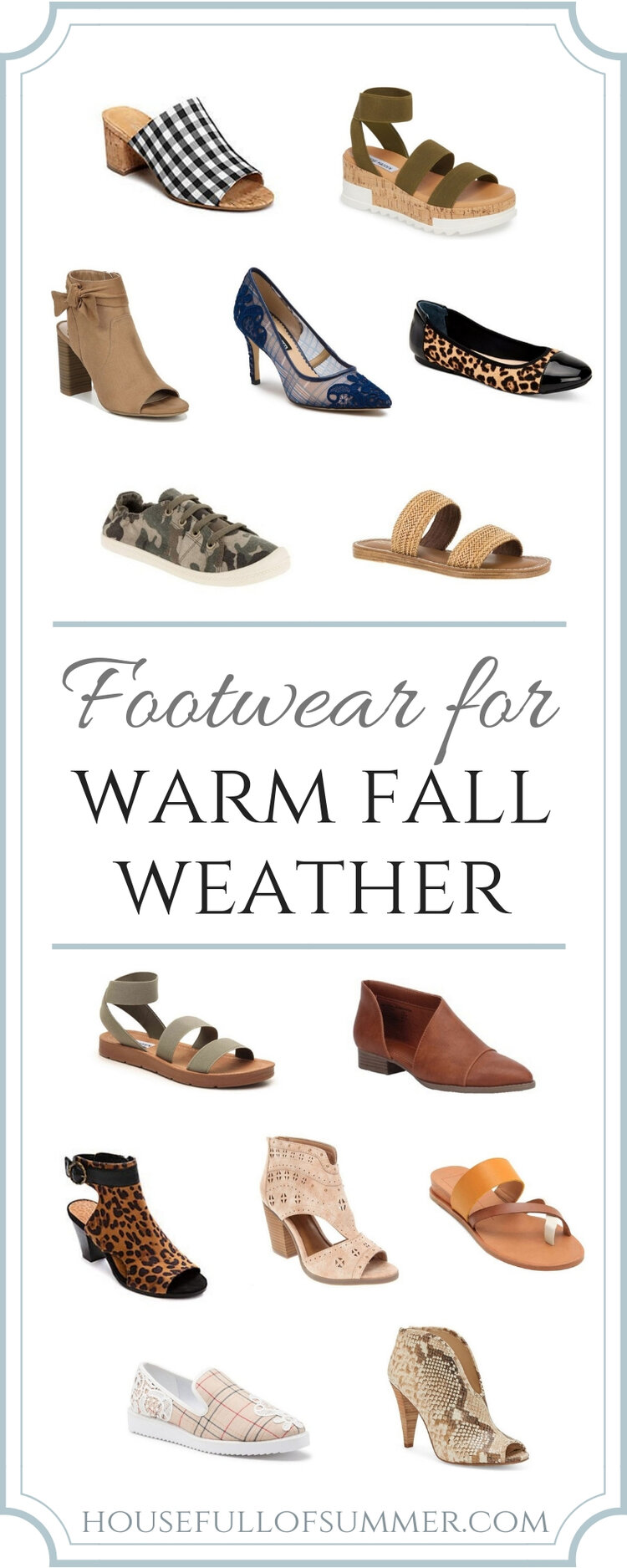 Footwear for Warm Fall Weather | House Full of Summer - Florida fashion, fall outfits, fall in the south, what to wear on a warm fall day, sandals for fall, peep toe booties, flats, leopard print flats, work wear, business casual #liketoknowit #housefullofsummer #shoes #shoeobsessed