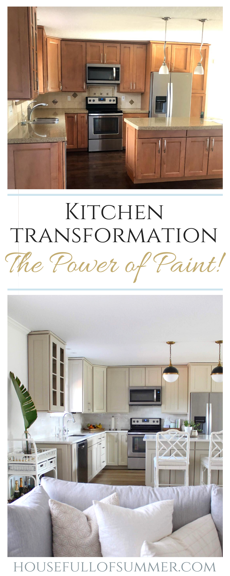 Kitchen Cabinet Paint Color Reveal Before After House Full Of Summer Coastal Home Lifestyle