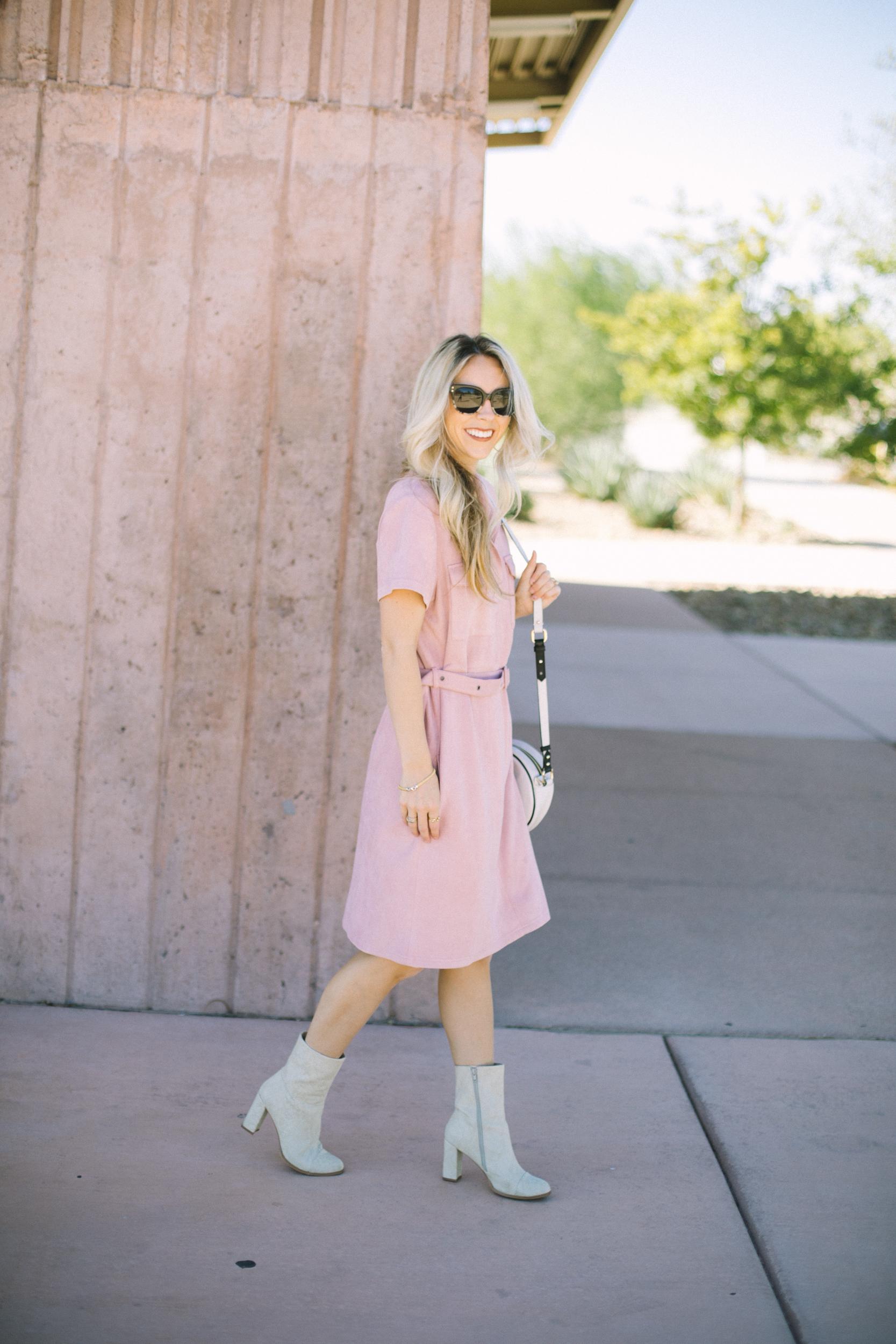 Pink Midi Dress by Las Vegas fashion bloggers Life of a Sister