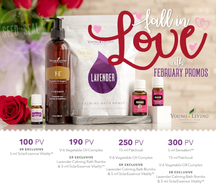Young Living's February 2018 Essential Rewards Promotion includes everything you need to get ready for Valentine's Day