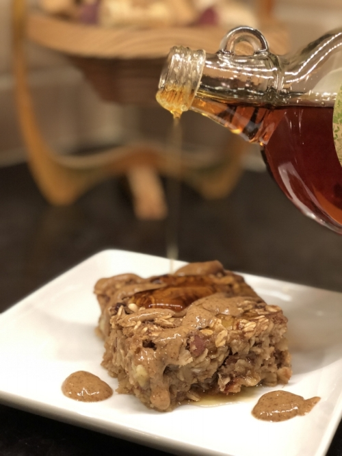 Vegan Baked Oatmeal with Pecan and Dried Cherries (gluten-free, dairy-free, and vegan)