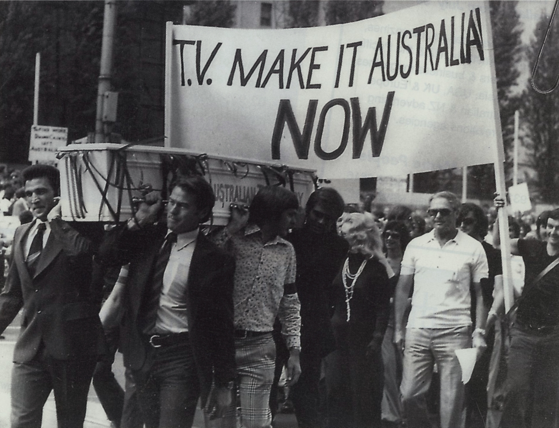 Australian actors, including cast members of  Homicide  and  Division 4  march through the centre of Melbourne in 1970  to demand local content quotas.