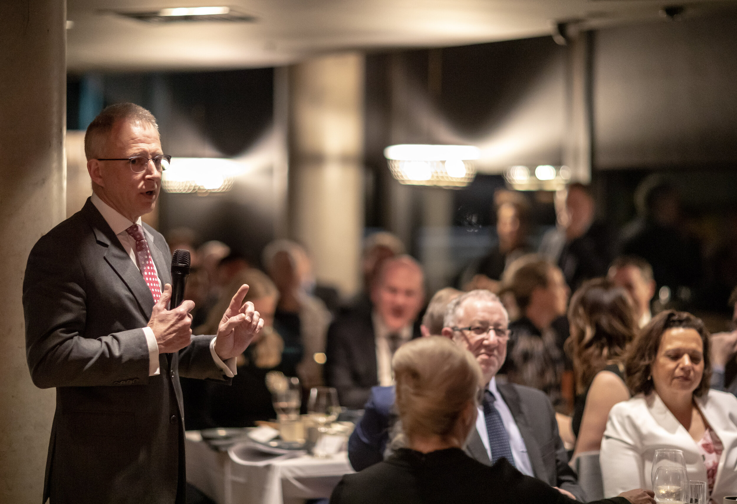 Communications and Arts Minister Paul Fletcher addresses the Screen Stories Canberra dinner.