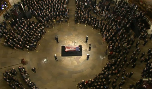 "G. H. W. Bush Funeral - Flag upside down is show of distress.He wasn't in that casket. At some point it will be revealed that he 'ratted' everyone else out to preserve his legacy with the sheeple for a while anyway. If you don't agree to the terms of the ""white hats"" you simply disappear like RBG did. She is gone."