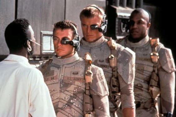 """""""Campy"""" 80's Movie """"Universal Soldier"""" - Jean Claude Van Dam & Dolph Lundgren starred in this movie that spawned a plethora of even cheesier sequels. The core of the movie was chemical enhancement, not only improve performance in battle, but to remove things like pain receptors and emotions of fear or empathy….oops CosmicGuy I didn't think about """"those"""" kind of enhancements when I thought, """"super soldier"""". Good people don't. There was also re-animation of the dead and the appearance of creating zombie-soldiers capable of killing any enemy foreign or domestic or friendly citizens. (hint)"""