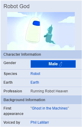 Robot God for Robots? - The Robot God lives in Robot Heaven, which is situated high up in the sky. In