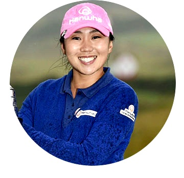 I.K. Kim,   LPGA Champion, is playing in a tournament.