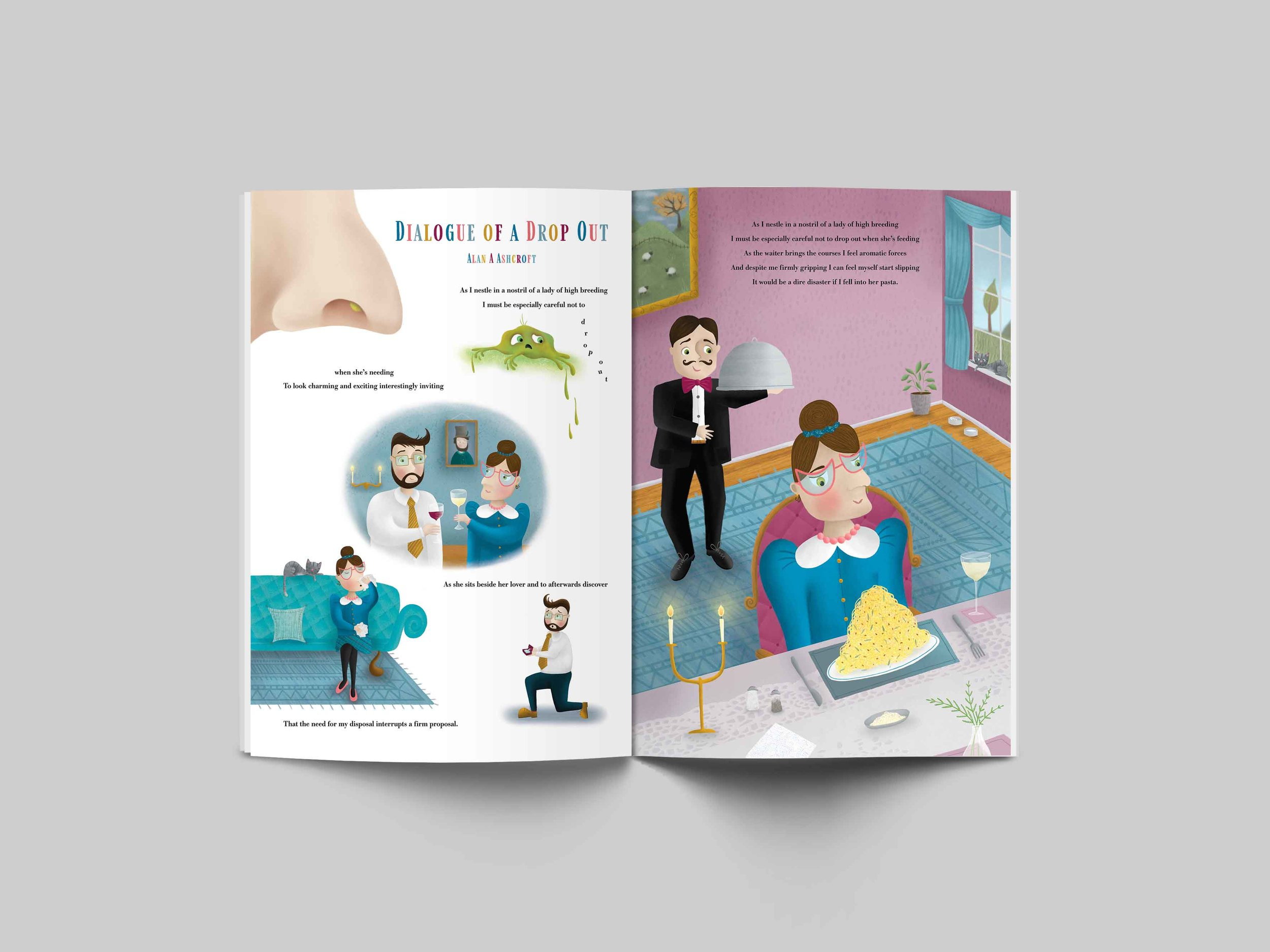 An example spread showing the illustrations used in the context of a book.