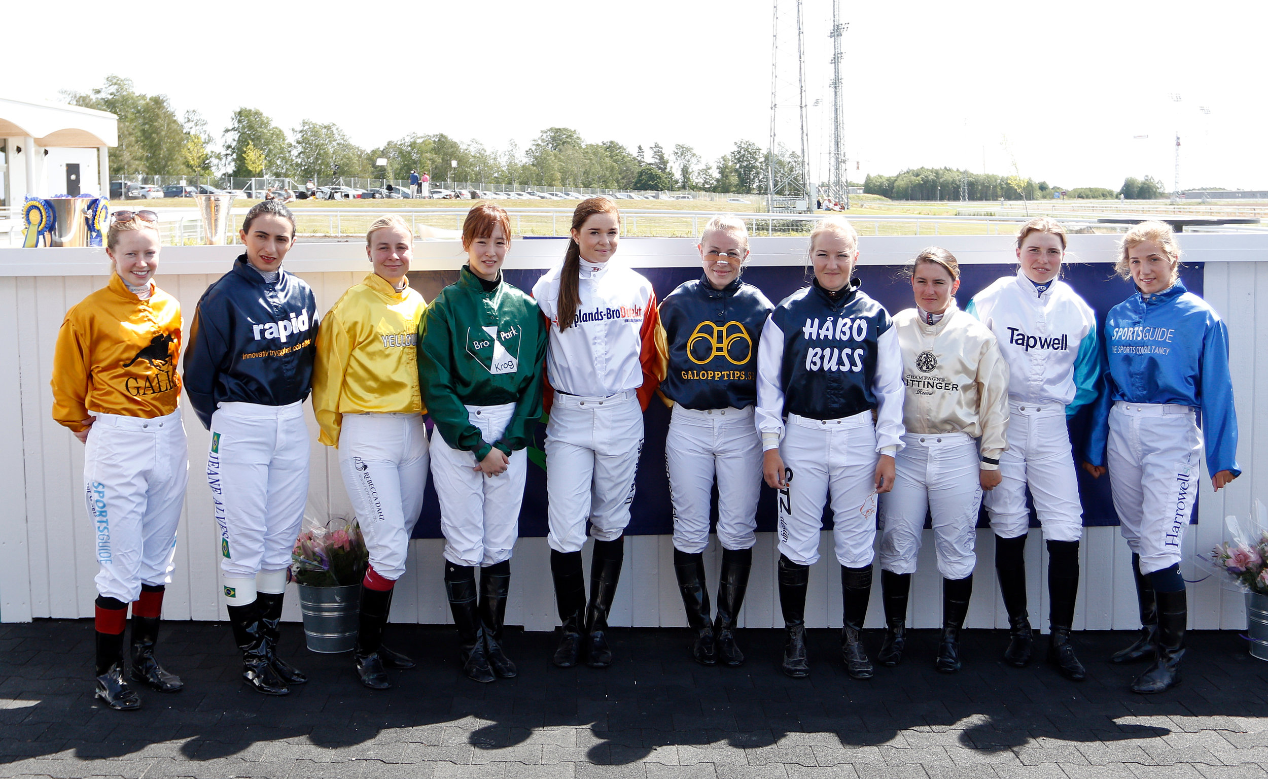 The participating jockeys in the 2019 Women Jockeys' World Cup at Bro Park in Stockholm, Sweden.