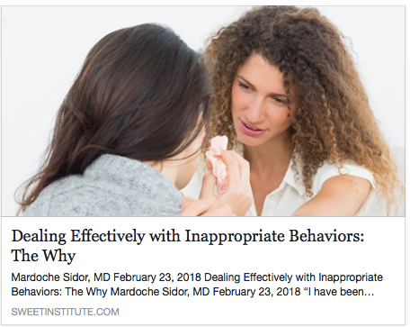 SWEET Institute- Dealing Effectively with Inappropriate Behavior: The Why