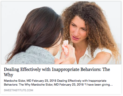 SWEET Institute- Dealing Effectively with Inappropriate Behaviors: The Why
