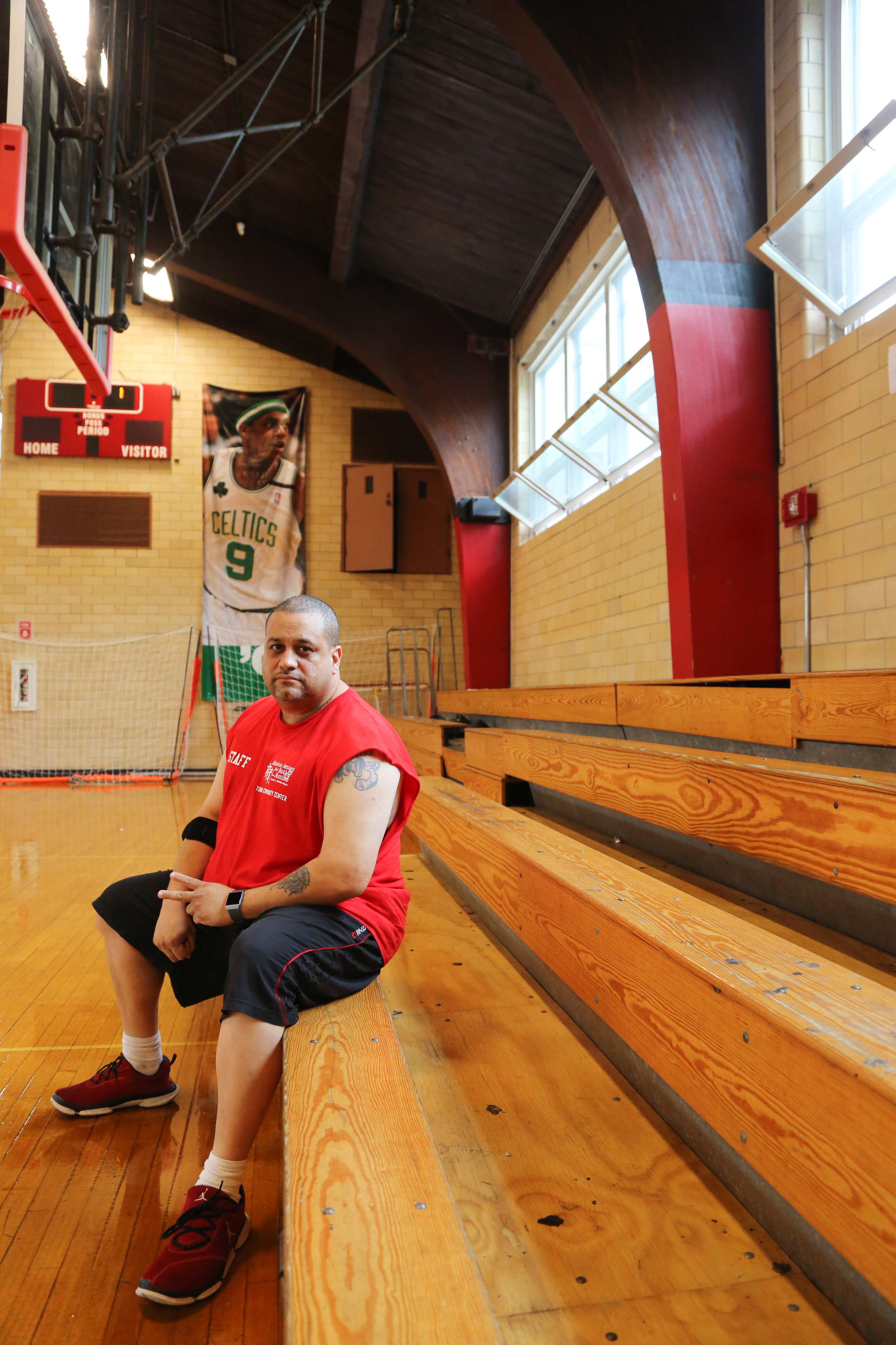 Hector Galarza , 47, a youth leader in the Mission Hill neighborhood. Tobin Community Center in Boston, Massachusetts. ( #MissionHill100 )